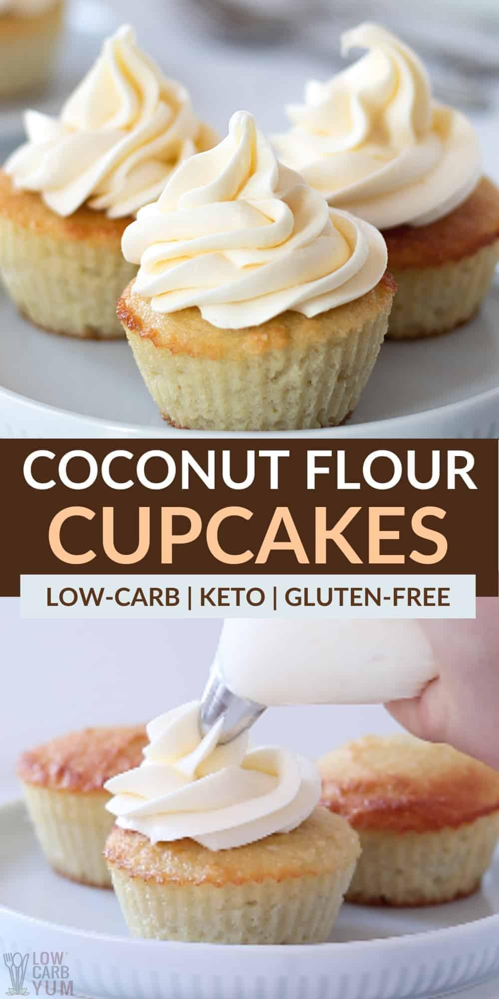 keto coconut flour cupcakes pinterest image