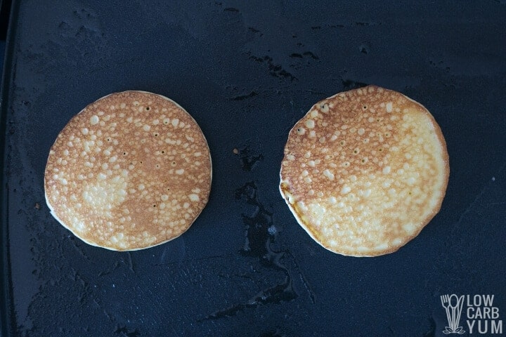 flipped pancake on griddle