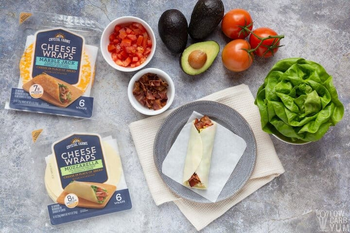 rolled keto blt sandwich wrap