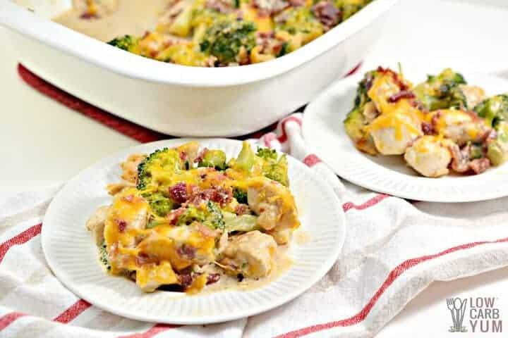 serving chicken bacon ranch casserole keto recipe