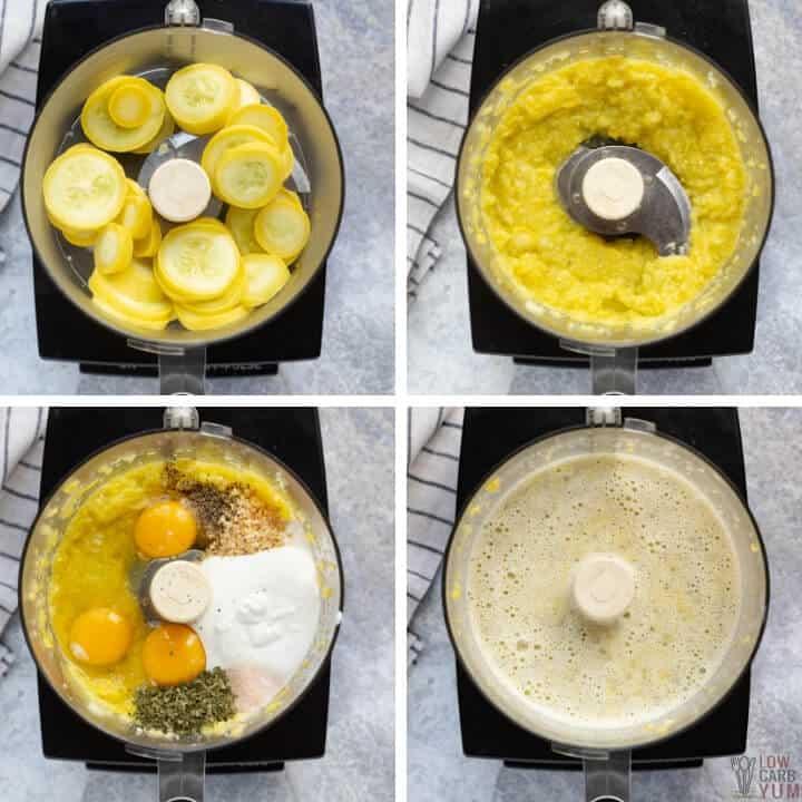 preparing keto squash casserole filling