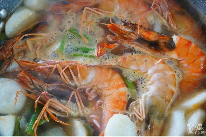 shrimp cooked in the Filipino soup