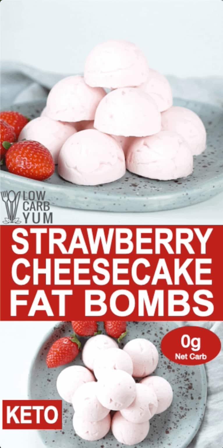 strawberry cheesecake fat bombs pinterest image