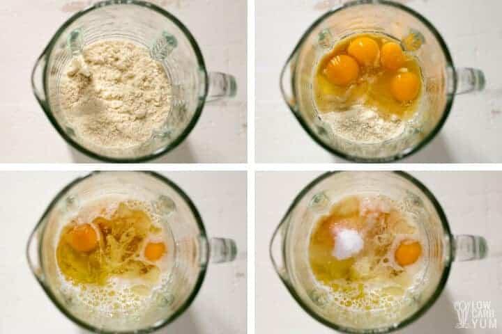 preparing keto almond flour pancakes