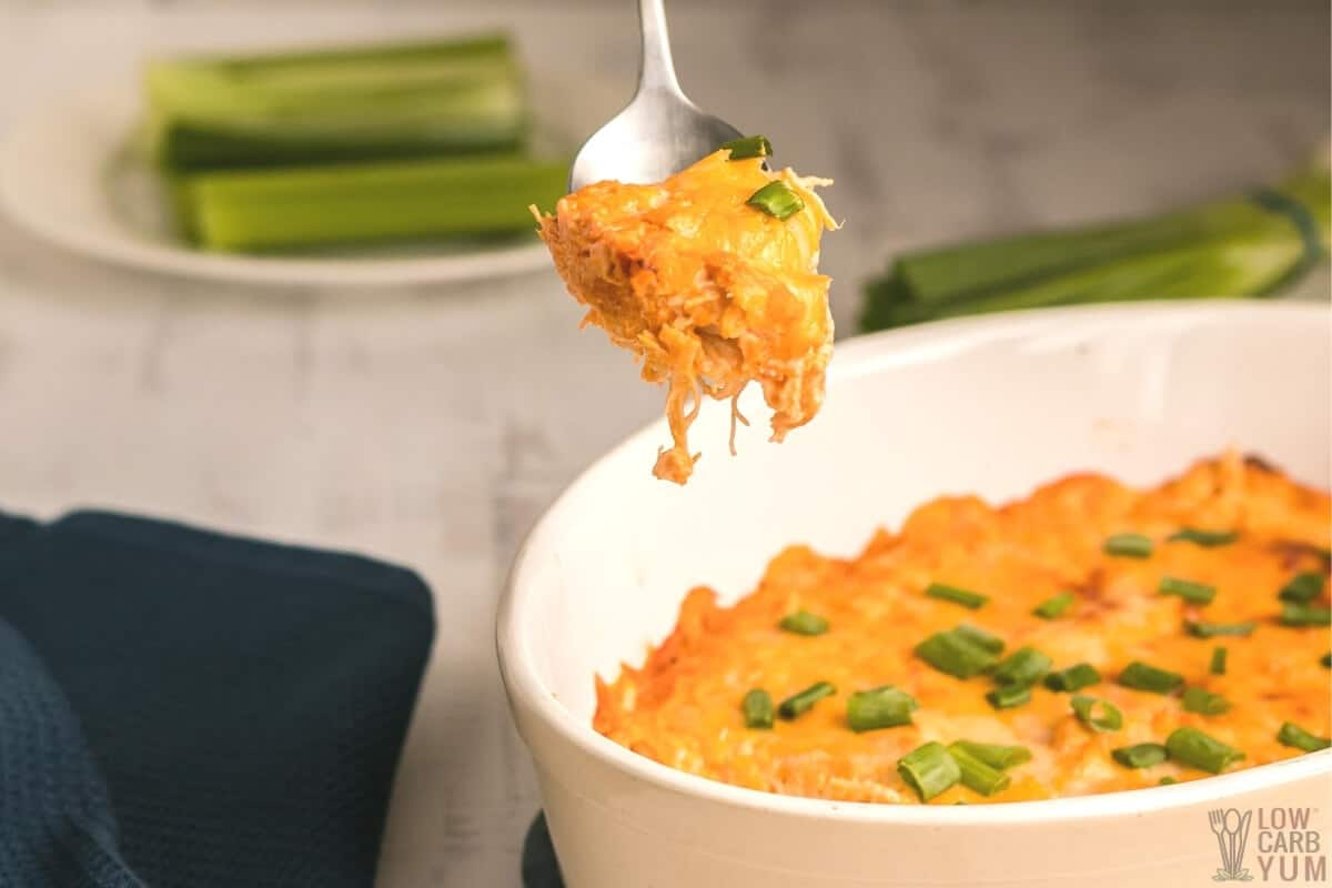 spoon of keto buffalo chicken dip recipe made in oven