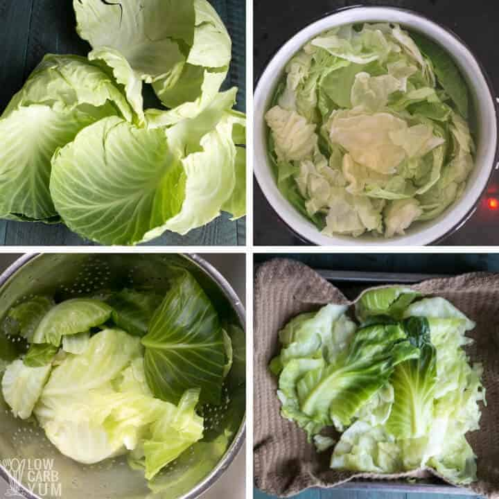 prepping cabbage leaves
