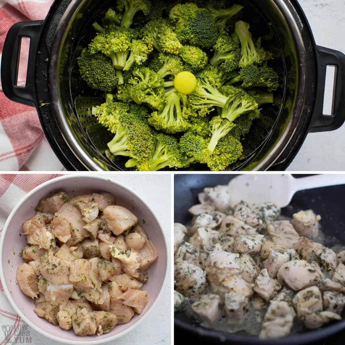 prepping broccoli and chicken