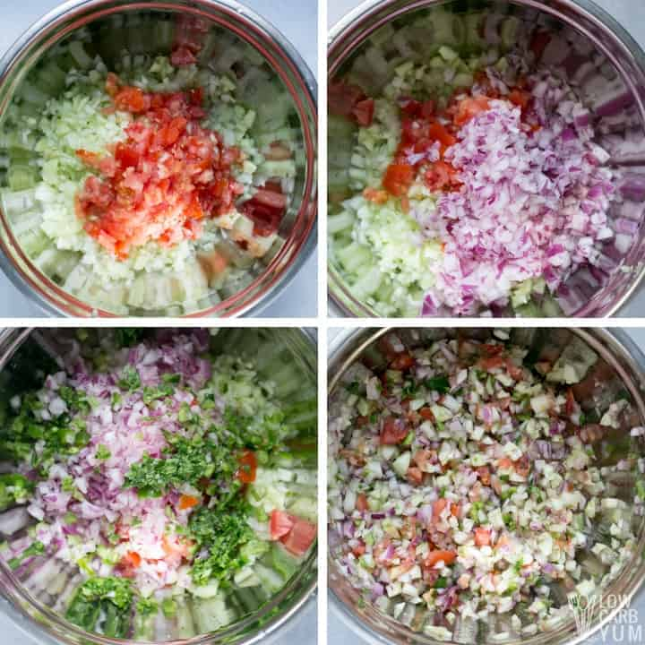 mixing fresh ingredients in bowl