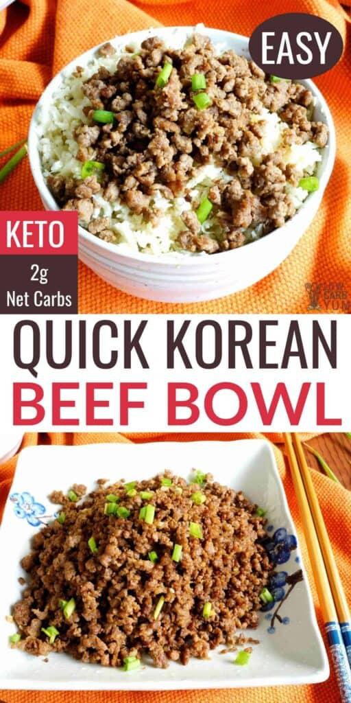 quick korean ground beef bowl