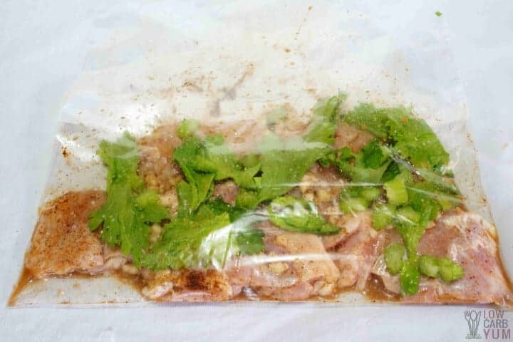 seasoned chicken and celery in bag