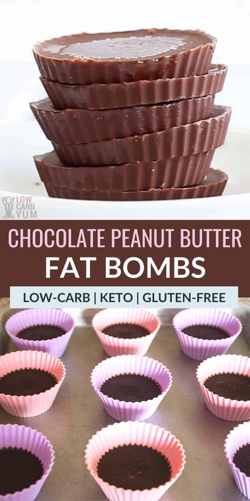 chocolate peanut butter fat bombs pinterest image