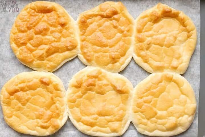 cloud bread keto rolls baked