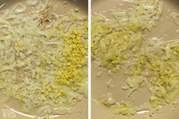 cooking garlic and ginger