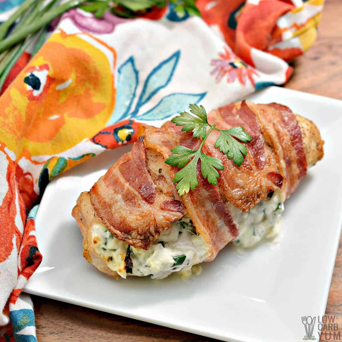 cream cheese stuffed chicken on plate