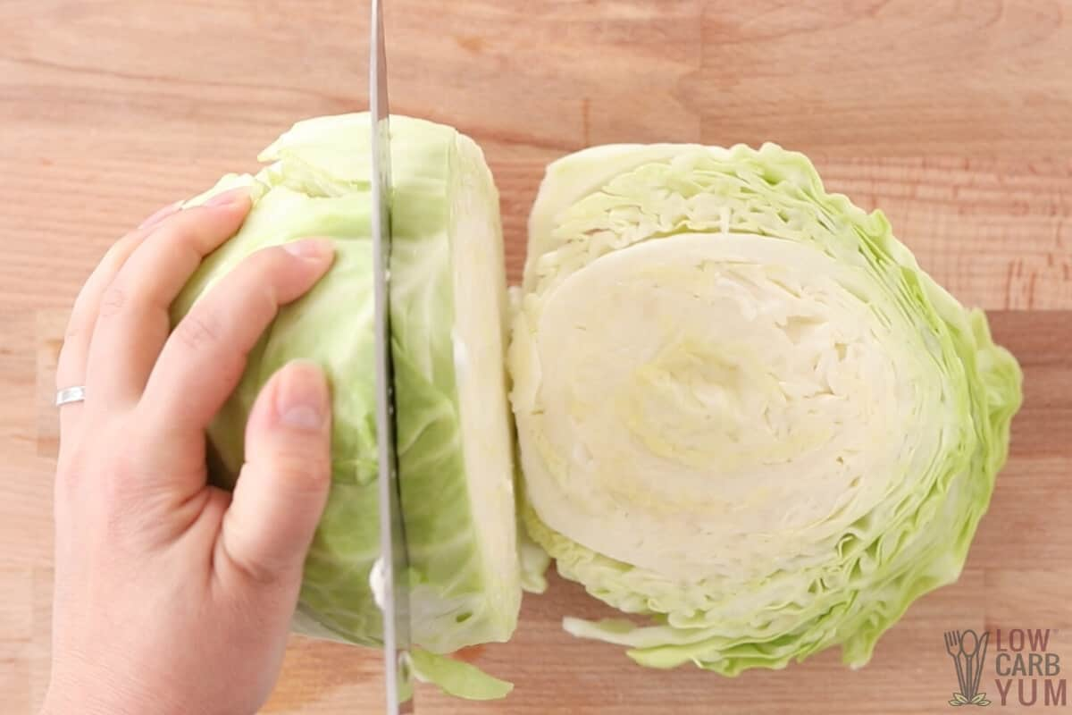 slicing cabbage