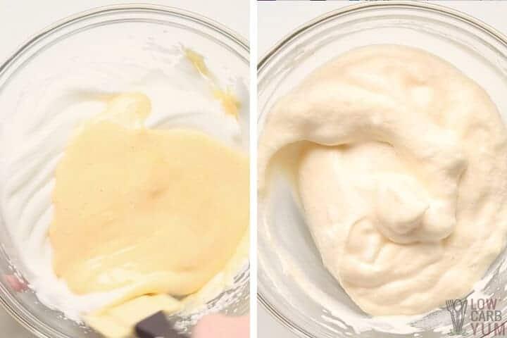 folding egg mixtures together