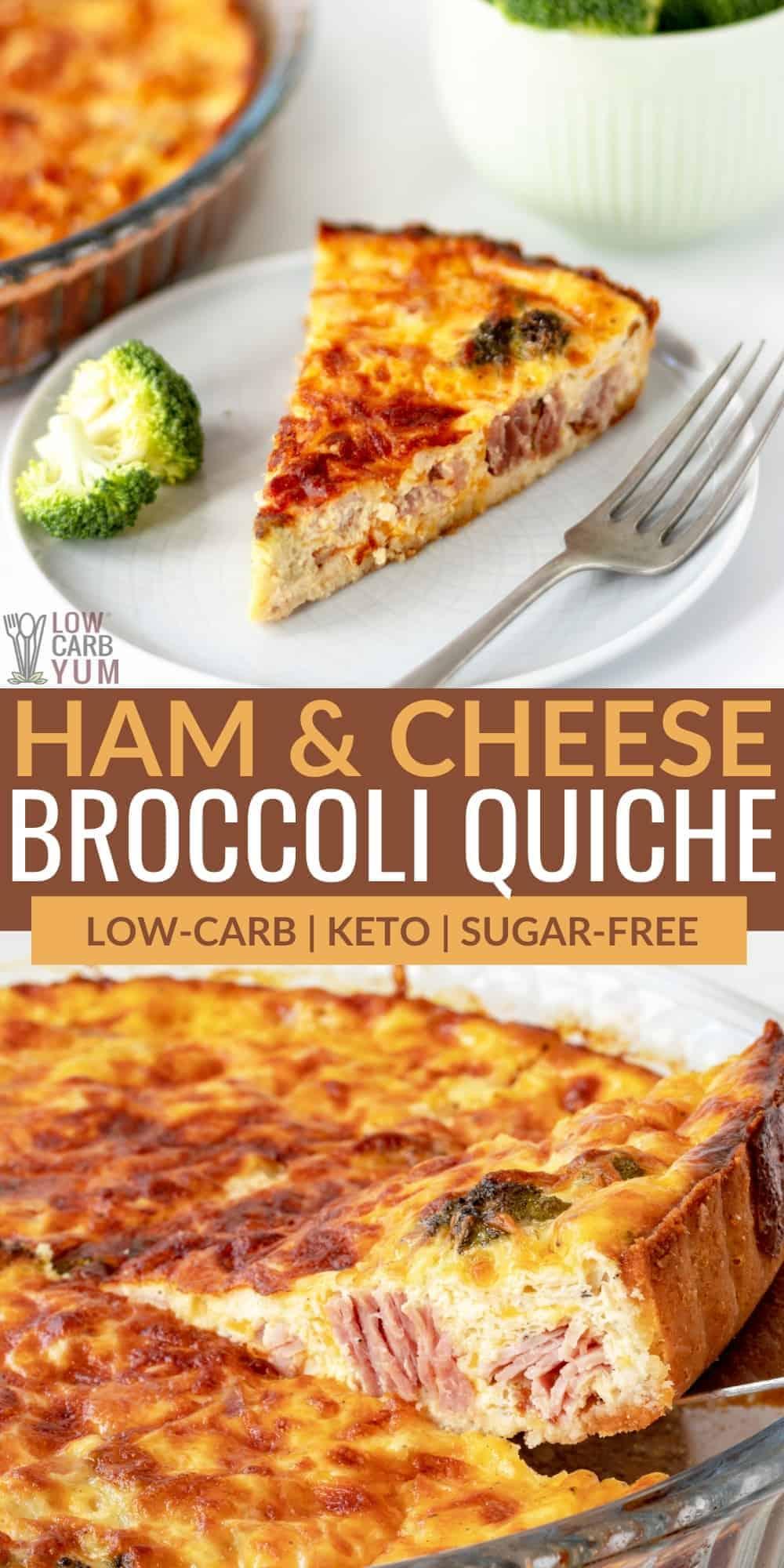ham and cheese broccoli quiche pinterest image