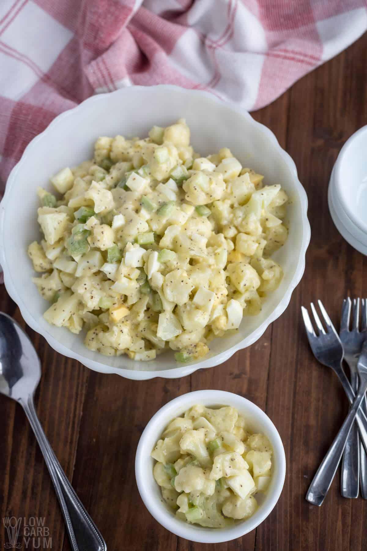 serving mock potato salad