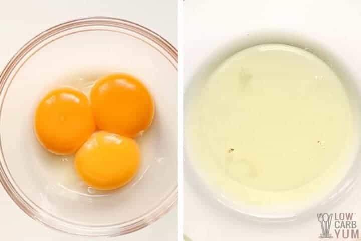 separated eggs in bowls