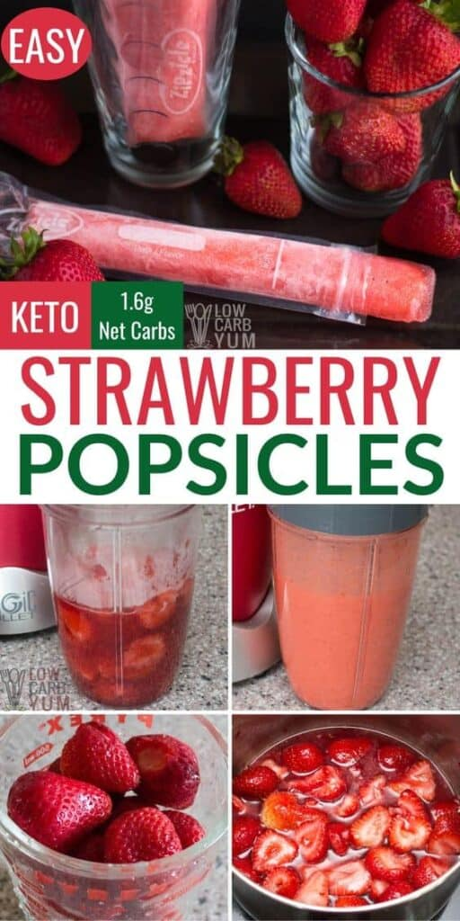 strawberry keto popsicles