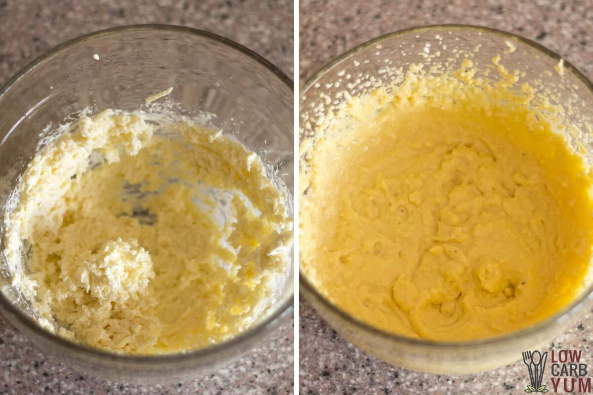 cheese bread batter in mixing bowl