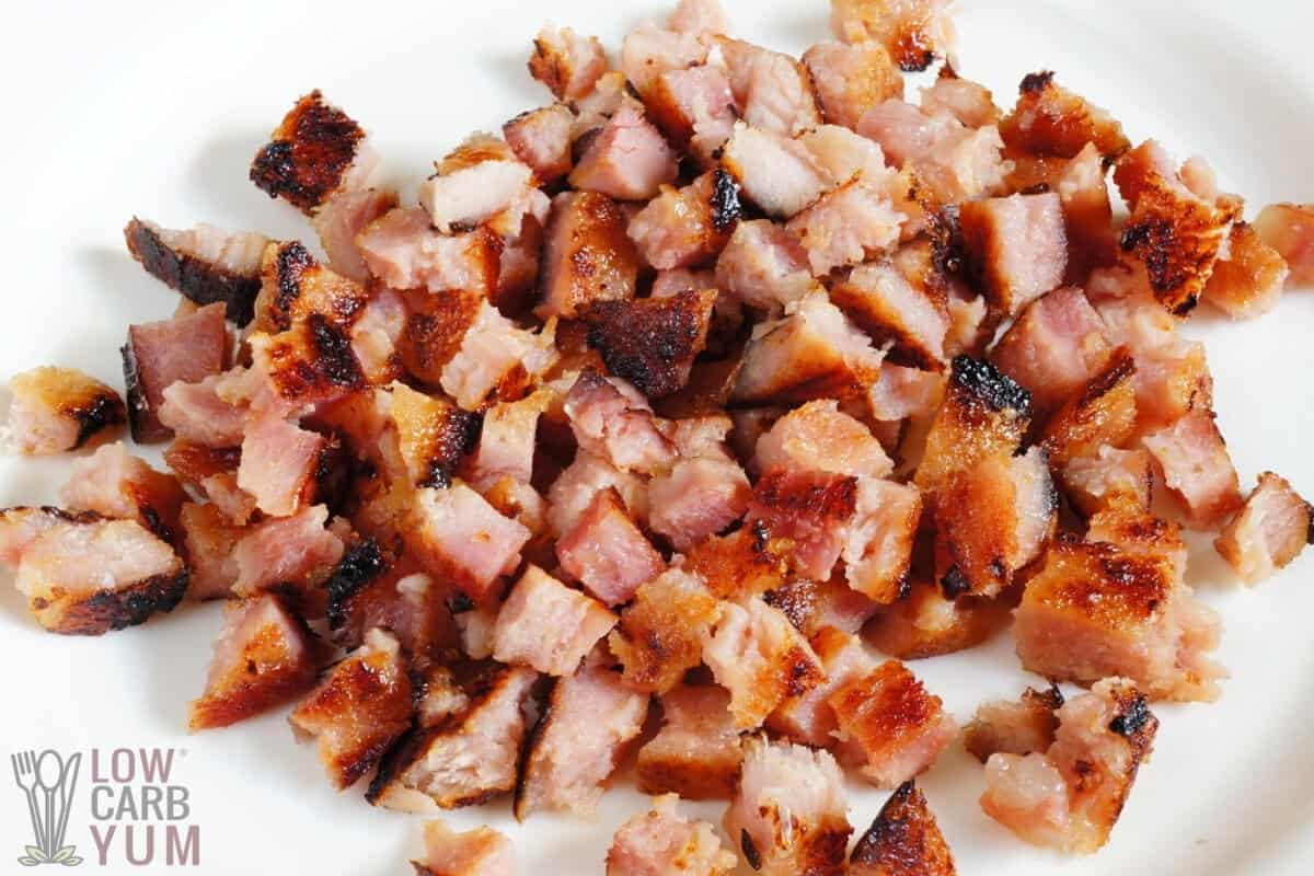 cubed ham on plate