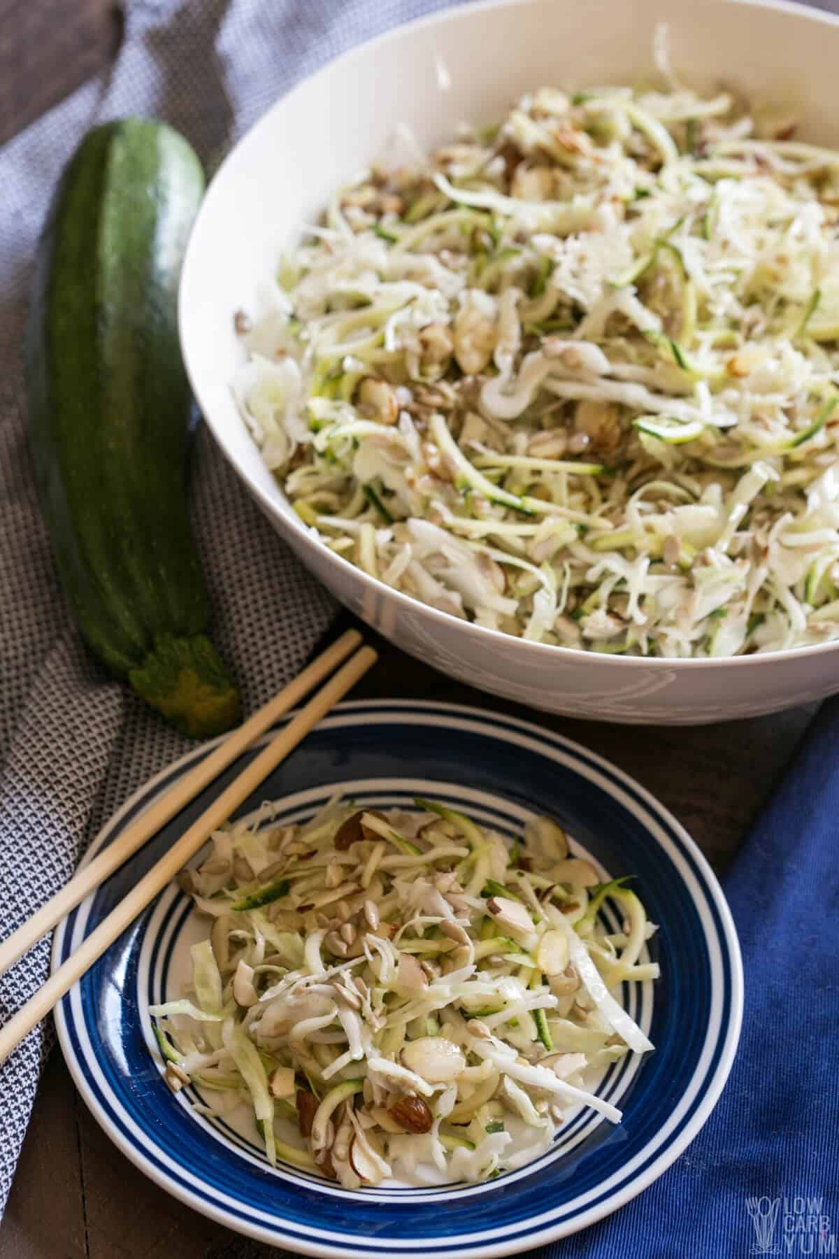 serving the keto asian spiralized zucchini salad