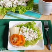 keto chicken salad on lettuce