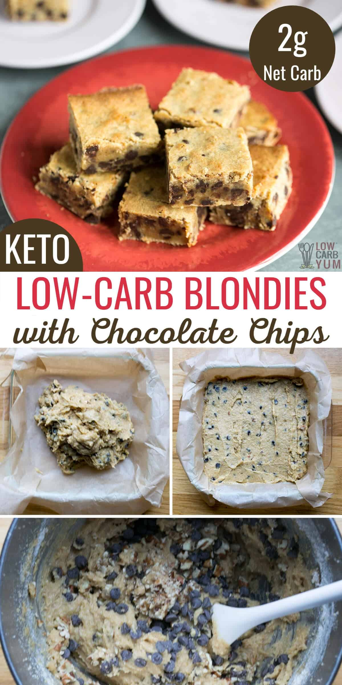 low-carb blondies with chocolate chips