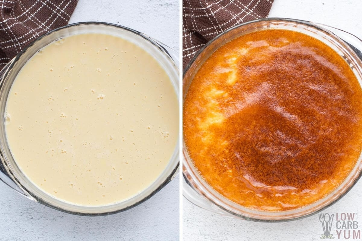 baking the creamy caramel custard