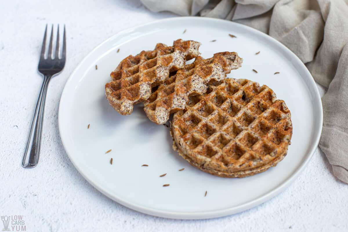 keto rye bread chaffles on plate
