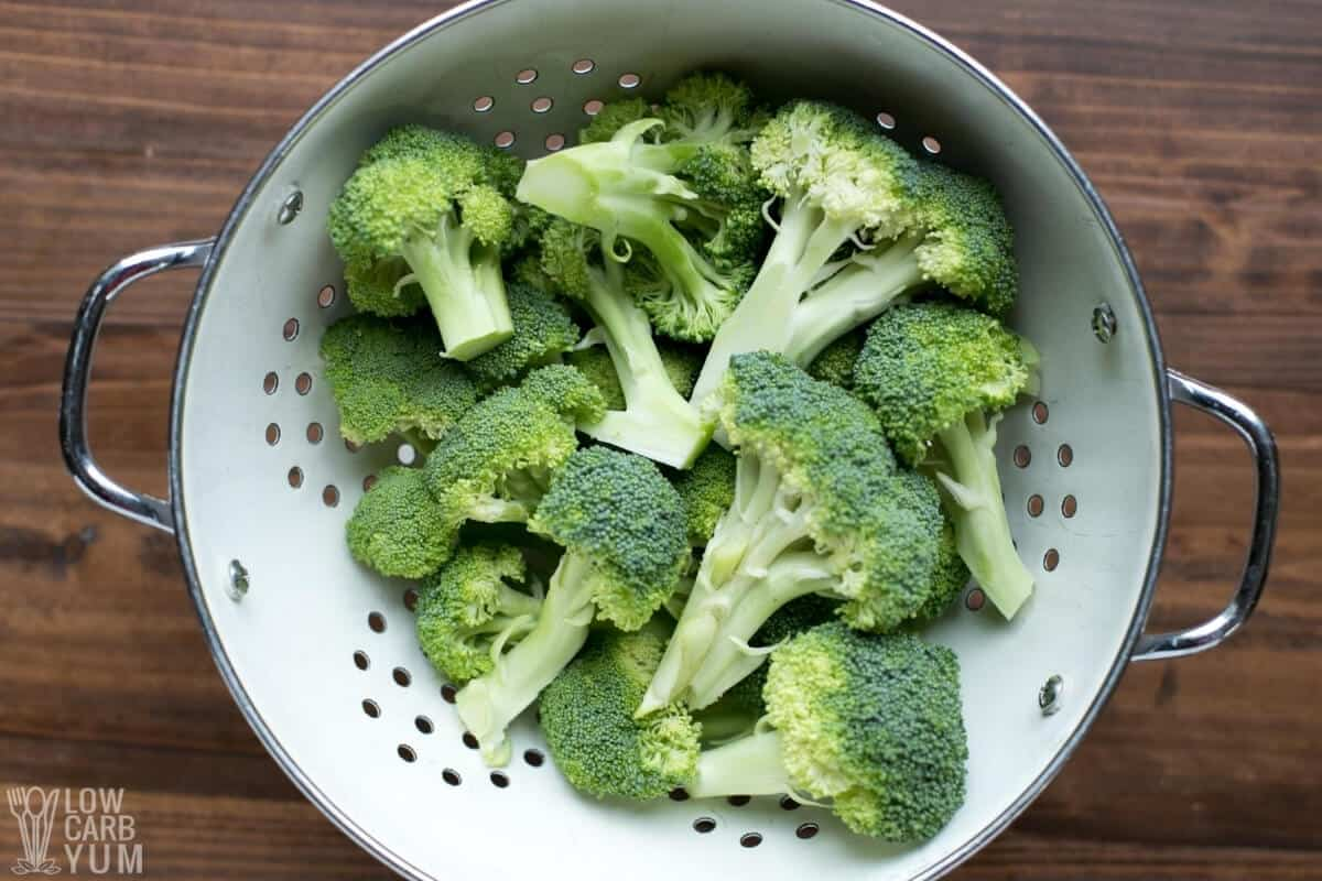 broccoli in colander