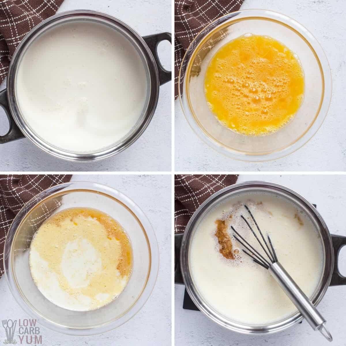 preparing the custard