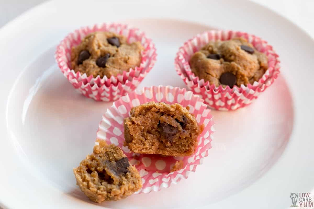 mini chocolate chip muffins on plate