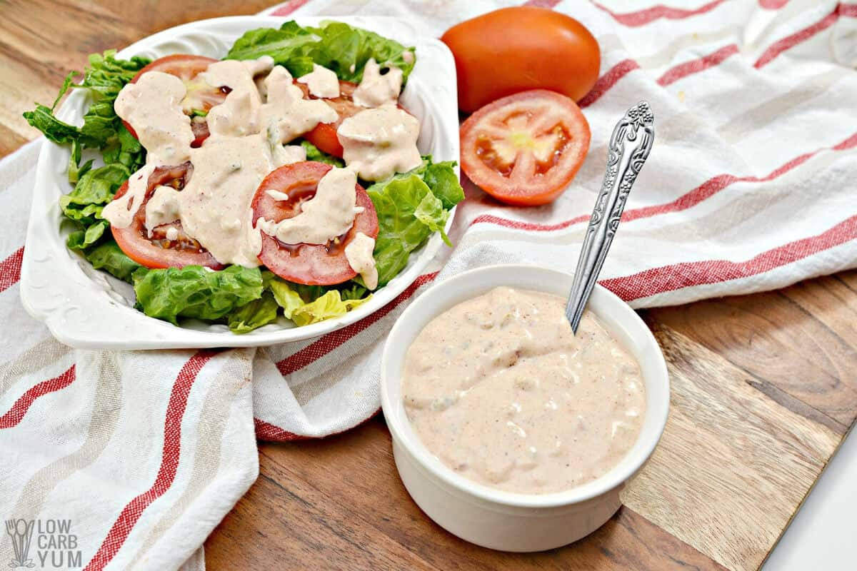 russian dressing recipe on garden salad