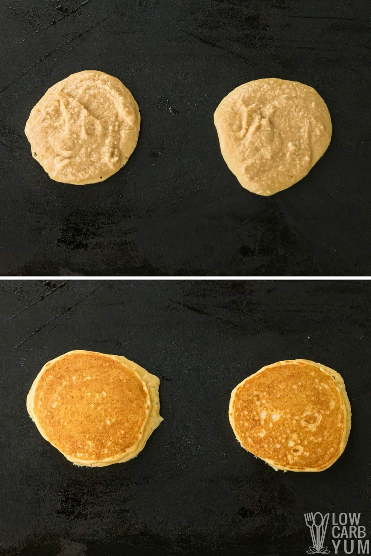 cooking the batter on a griddle