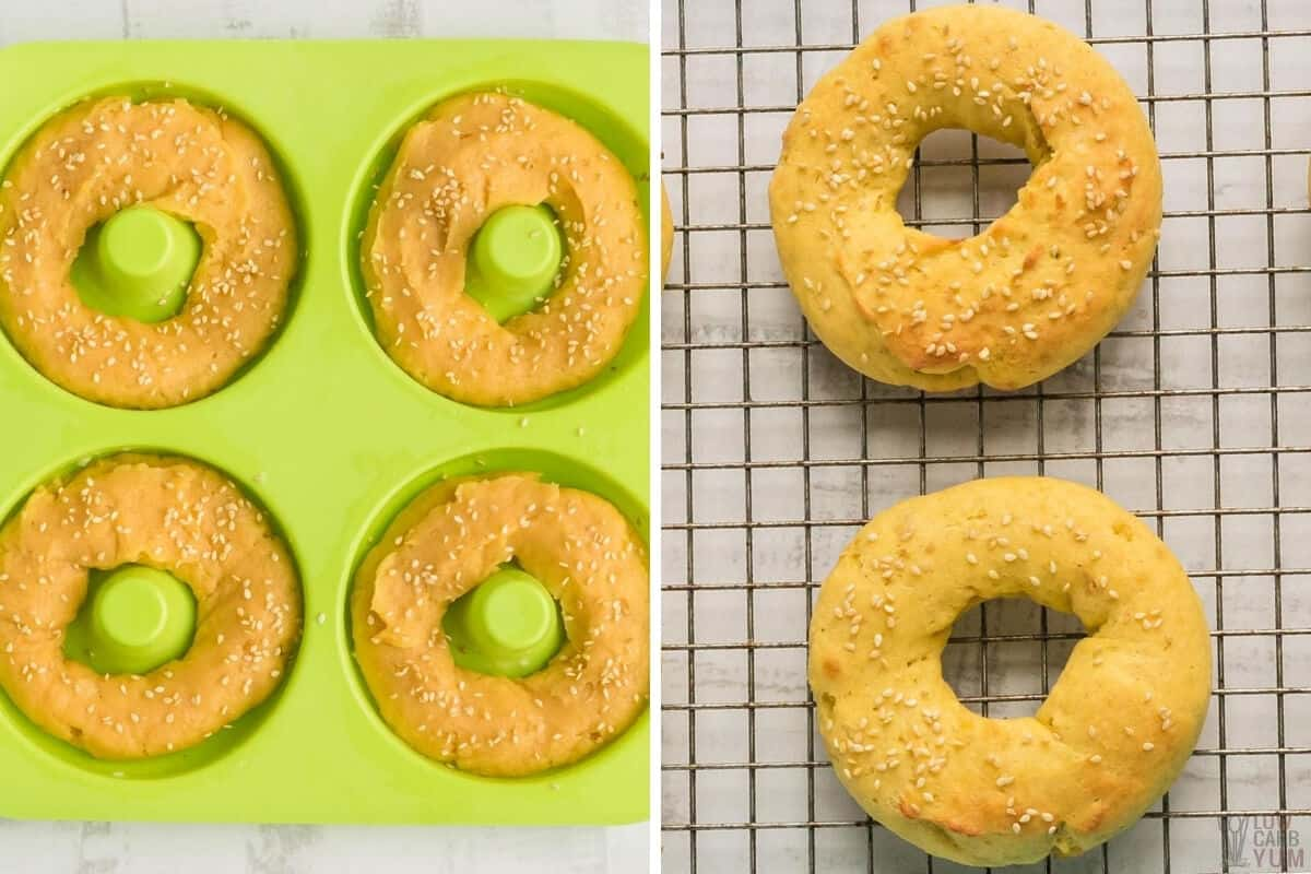bagel batter in donut mold and baked bagels on cooling rack