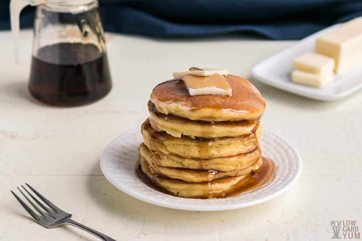 keto buttermilk pancakes stack with butter and syrup