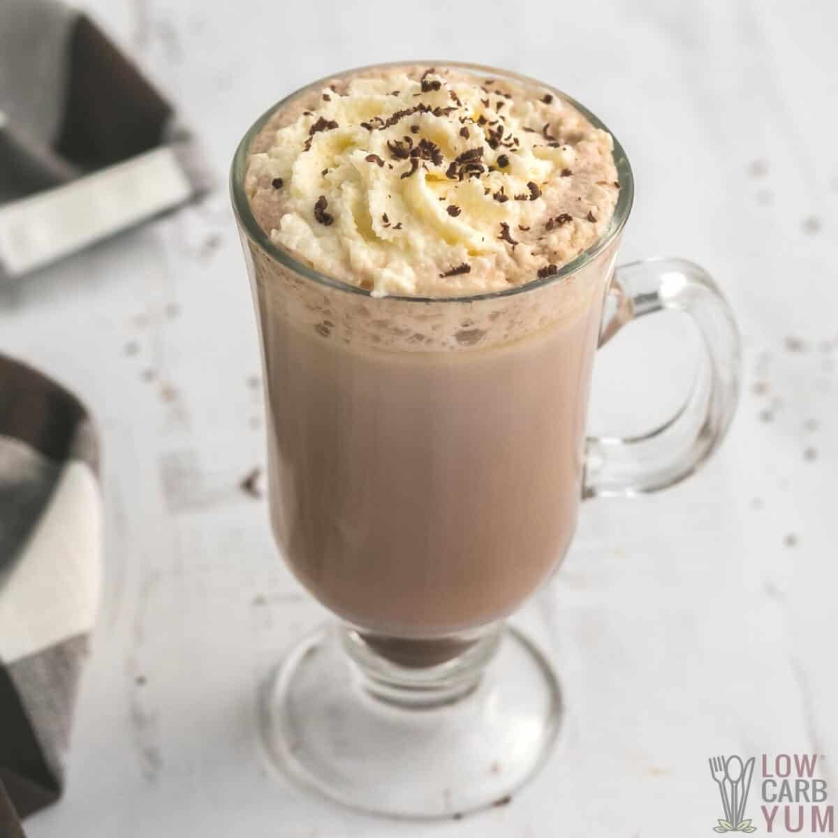 sugar free low carb keto hot chocolate in glass cup