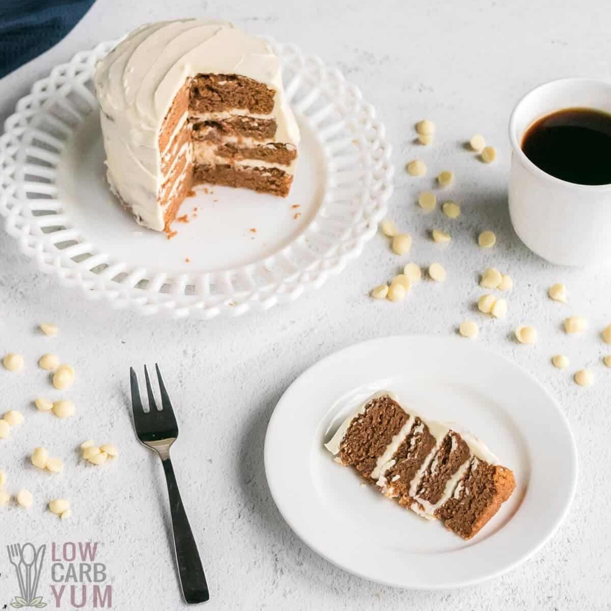 frosted mini keto pumpkin cake with coffee