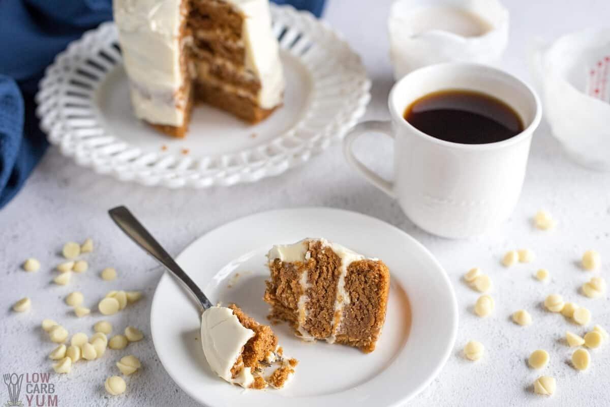 fork bite of pumpkin birthday cake