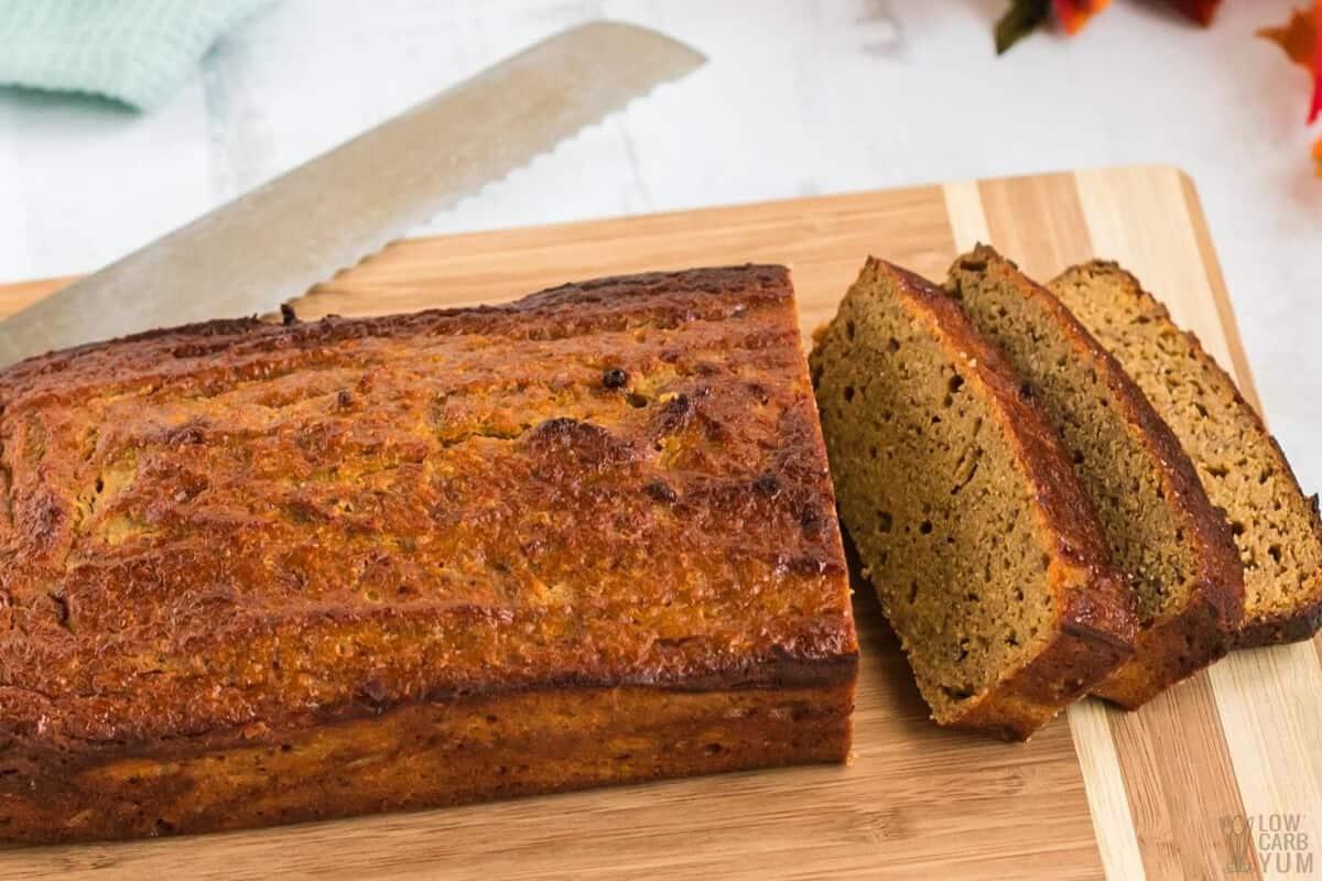 slicing coconut flour pumpkin bread