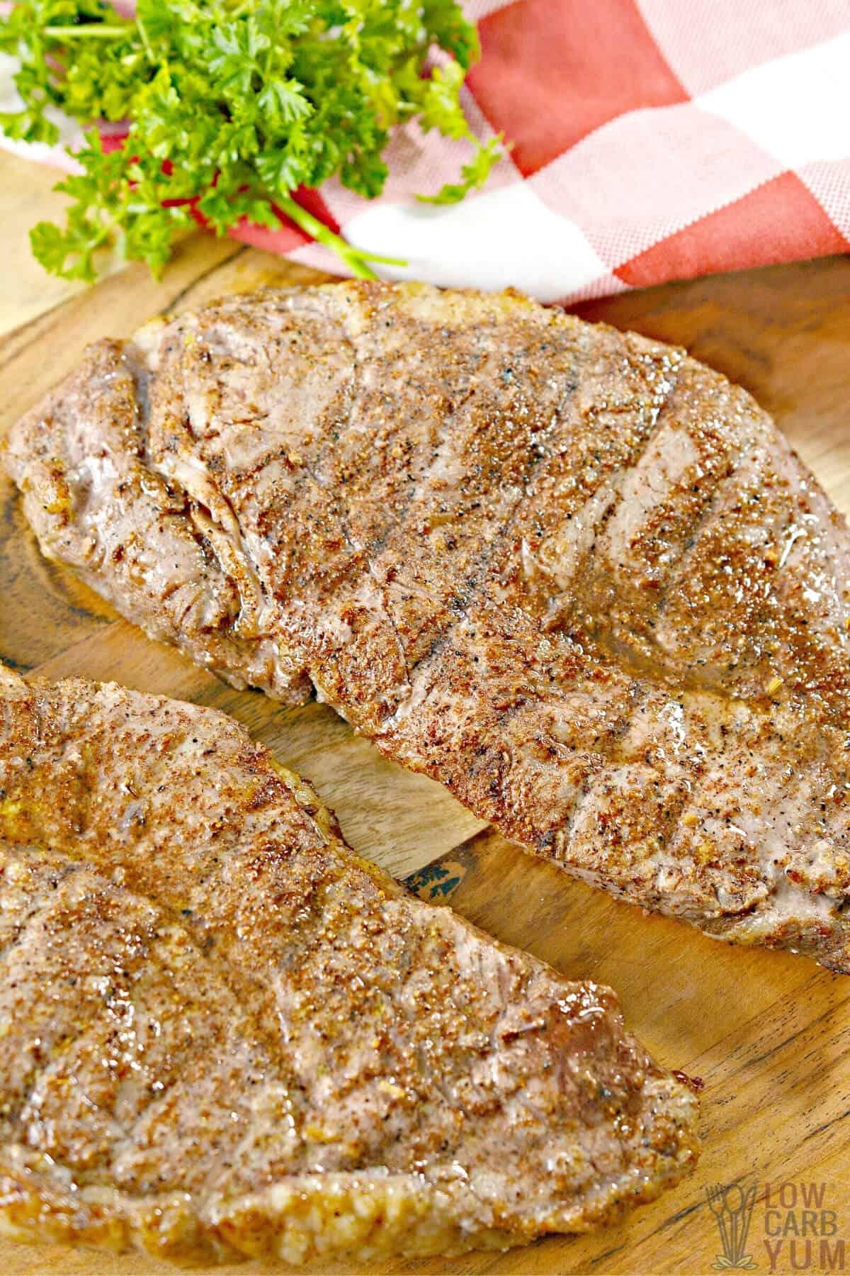 air fryer steaks on cutting board