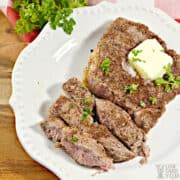 air fryer steak on plate with butter