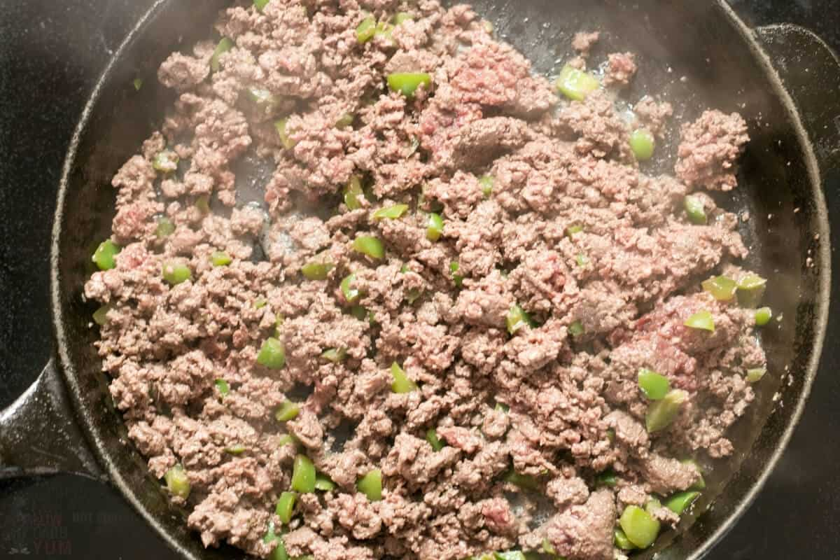 browned ground beef pepper onion