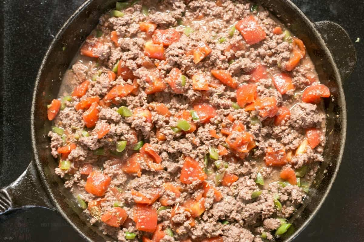 browned ground beef tomato added
