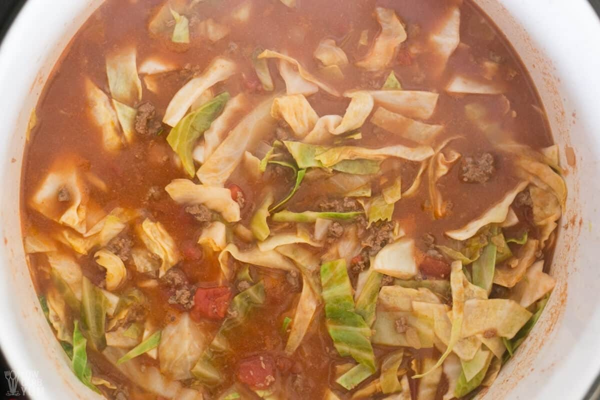 cabbage added to soup