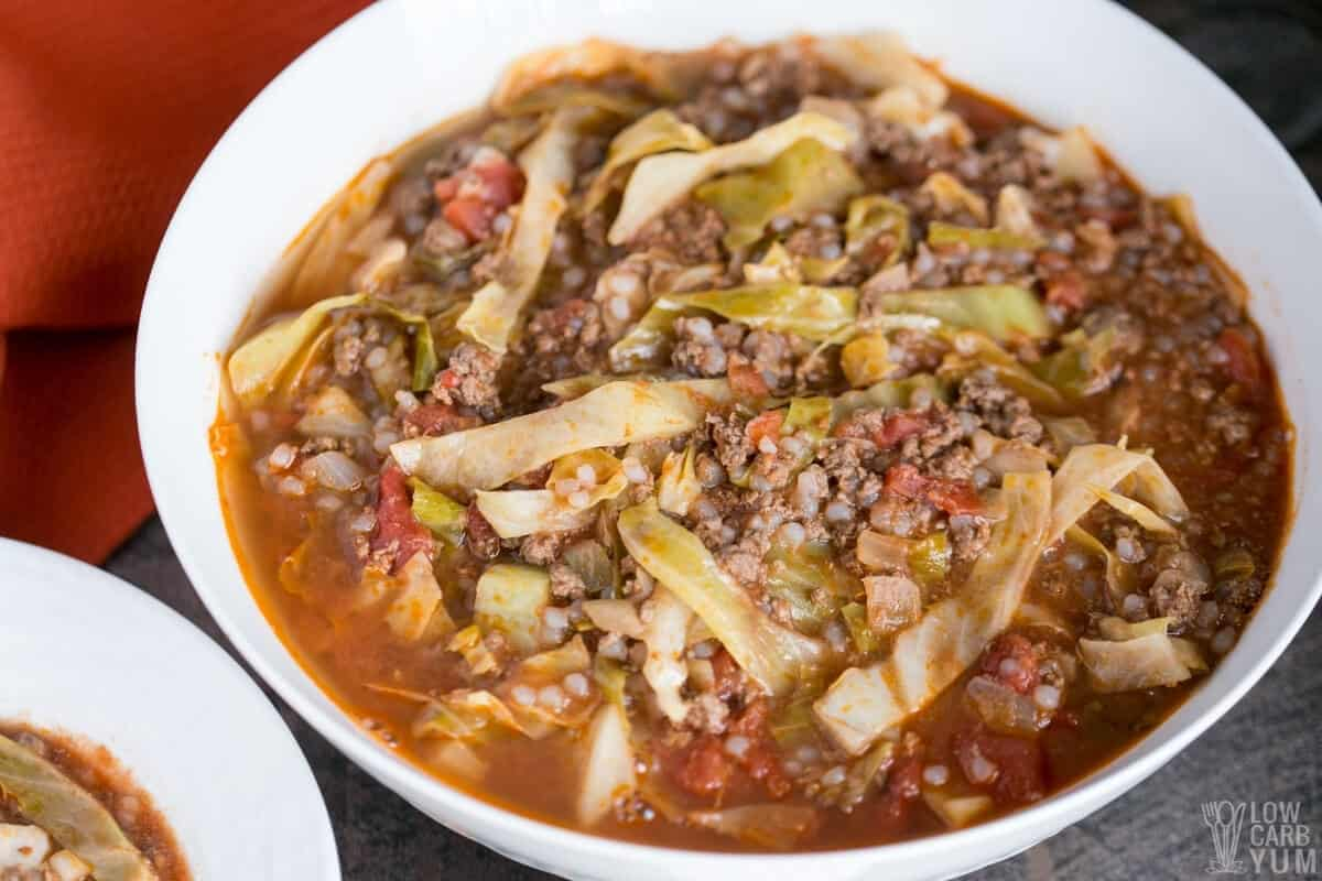 cabbage soup in large white bowl
