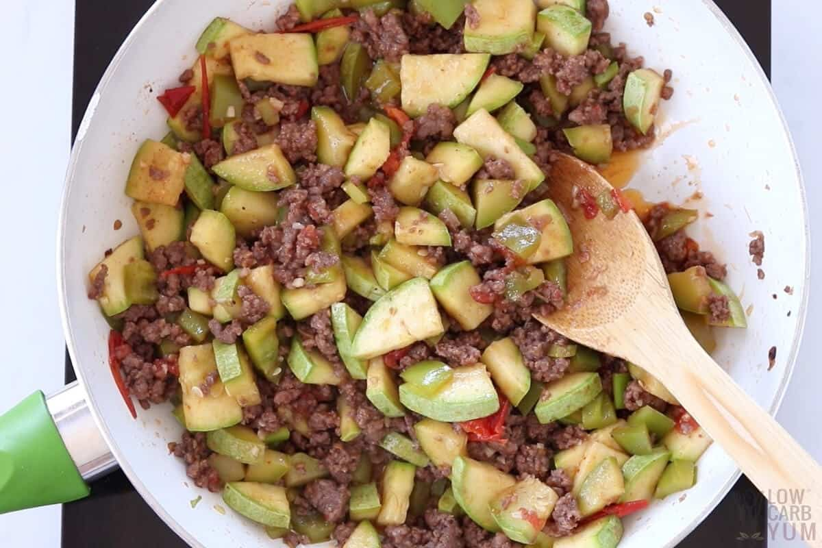 cooked meat and squash skillet