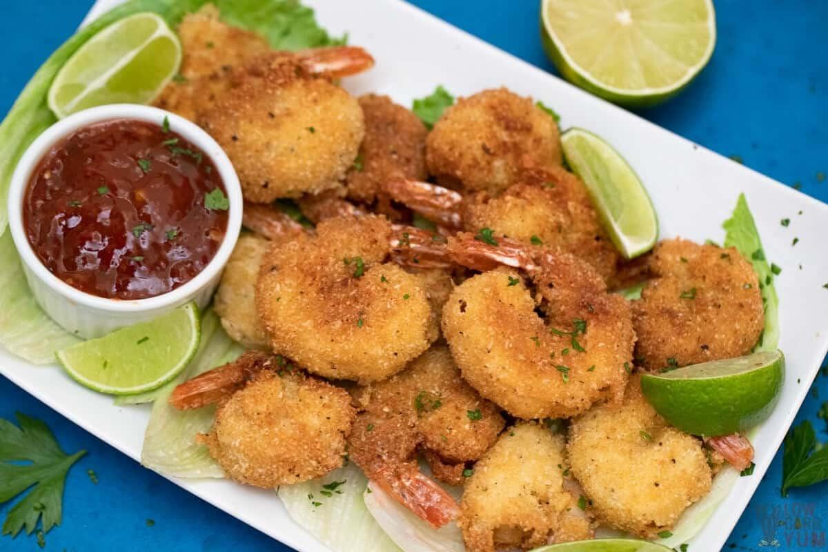 coconut shrimp on platter